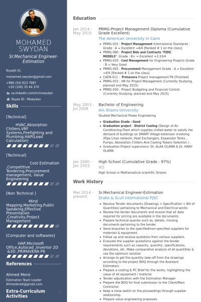 Curriculum Vitae Sles For Mechanical Engineers by Mechanical Engineer Resume Sles Visualcv Resume