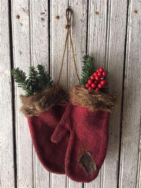 primitive burgundy christmas mitten ornaments winter decor