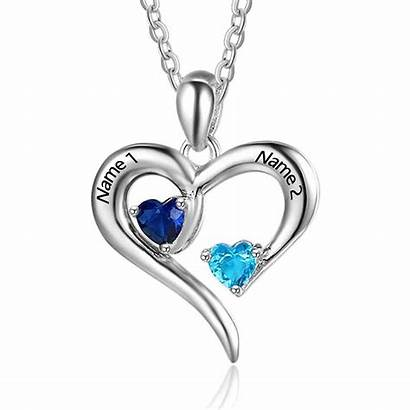 Necklace Heart Personalized Sterling Birthstone Birthstones Pendant