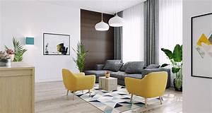 Salon Gris Bleu : salon scandinave gris jaune bleu inspiration style scandinave ~ Melissatoandfro.com Idées de Décoration