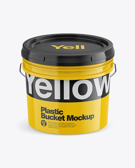 Simple edit with smart layers. 20L Glossy Paint Bucket Mockup - Glossy Plastic Bucket ...