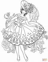Coloring Pages Woman American Adults Printable 1950s Adult Books Colouring Animal Sheets Supercoloring Clothing Creative 40s Fairy Jewelry Outline Elegant sketch template