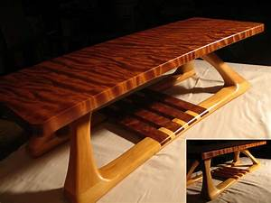 Hand Crafted Curly Redwood And Basswood Coffee Table By