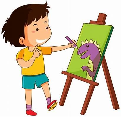 Boy Drawing Dinosaur Canvas Vector Illustration Clipart