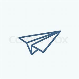 Paper airplane vector sketch icon isolated on background ...