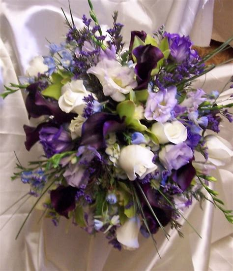 Bridal Bouquet Of White Roses Green Cymbidium Orchids