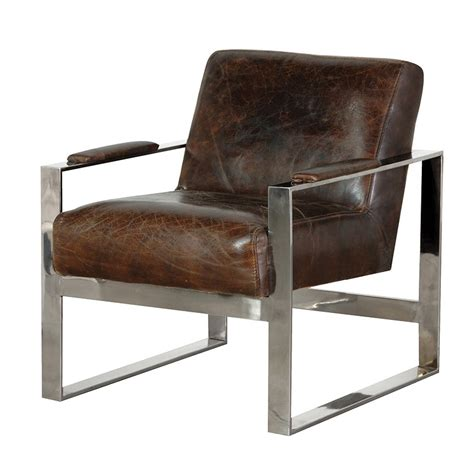 leather and stainless steel arm chair retro