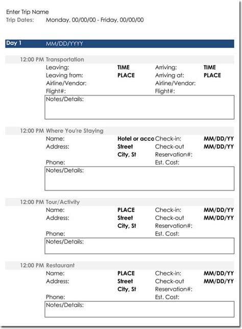 itinerary templates  perfectly plan  trips