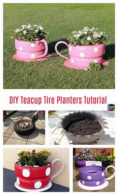 Teacup Diy Tire Planters Tutorial Step Diy4ever