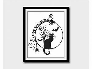 Halloween Cat Silhouette Cross Stitch Animal Pattern Bat and