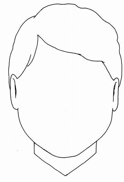 Face Template Blank Coloring Outline Boy Pages