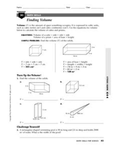Finding Volume, Density 7th  12th Grade Worksheet  Lesson Planet