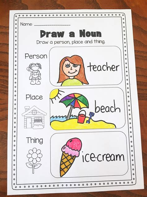 nouns printable worksheet pack kindergarten second