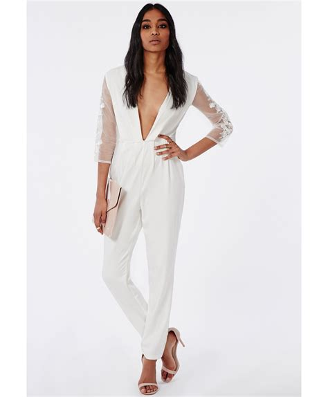 white sleeve jumpsuit missguided floral embroidered sleeve jumpsuit white in