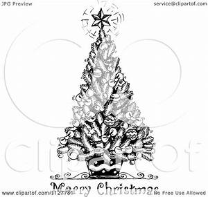 Cartoon Of A Merry Christmas Greeting And Sketched Tree In ...