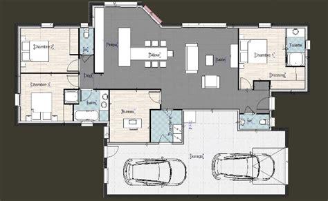 Plan Dressing En U 413 by Plan Maison Plain Pied 3 Chambres Garage Ht24