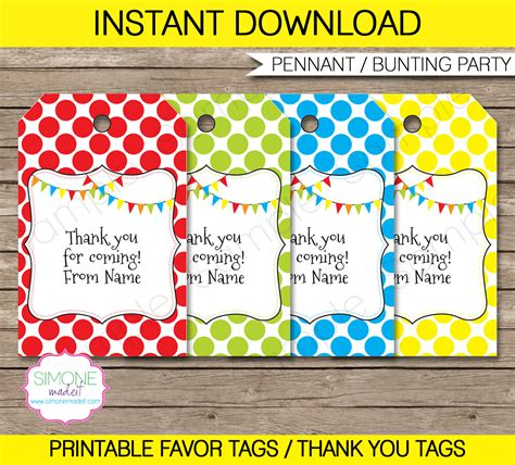 editable favor tags   tags birthday party favors