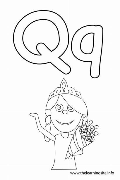 Letter Outline Queen Coloring Alphabet Flashcard Learning