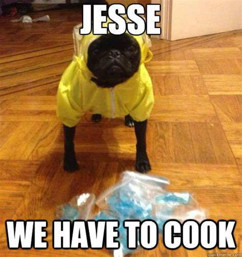Funny Breaking Bad Memes - jesse we have to cook breaking bad pug quickmeme