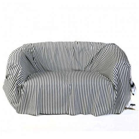 jeté de canapé blanc jeté de canapé rectangulaire blanc avec des rayures bleu