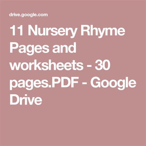 nursery rhyme pages  worksheets  pagespdf