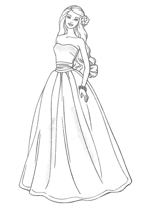 wedding dress coloring pages  girls activity shelter
