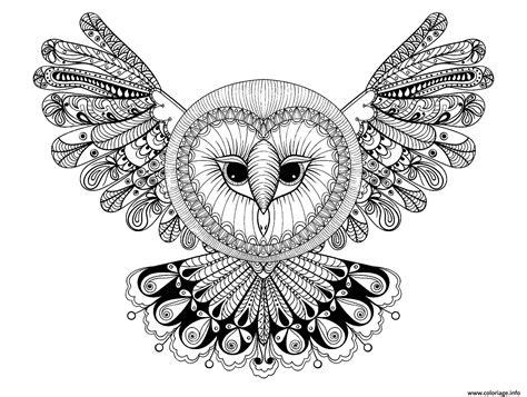 Coloriage Hibou Avec Grande Tete Forme Mandala Adulte