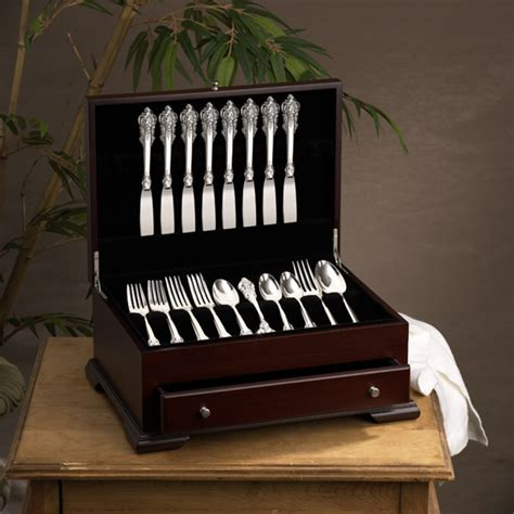 storage silverware flatware box case wood chest drawer kitchen