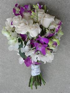 White Rose w/ white & purple orchid Bouquet | Roses ...
