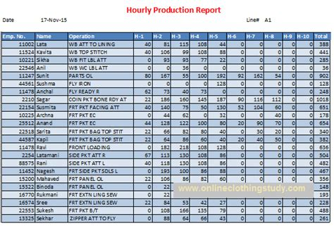 hourly production report  basic tool  control daily