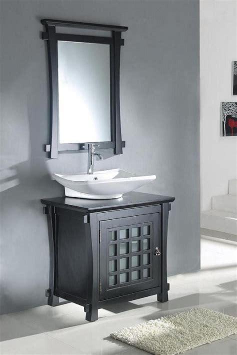 modern vessel sink bathroom vanity  dark walnut
