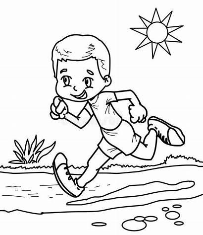 Running Coloring Boy Drawn Illustration
