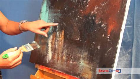 bastelzeittv  acrylbild schnecke mit strukturpaste und