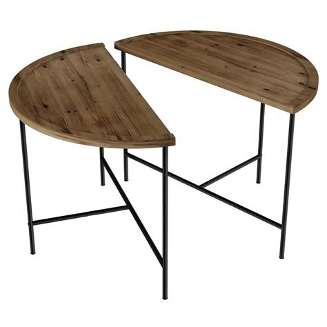 It should also be adapted to the decor of your interior. Lavish Home Woodgrain and Metal Modern Farmhouse Style Half Moon Coffee Tables (Set of 2 ...