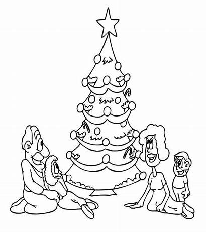 Coloring Tree Christmas Pages Printable Holiday Drawing