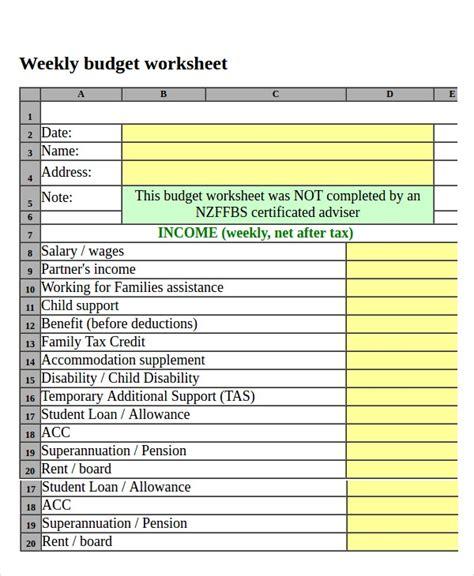 printable budget worksheet   word excel