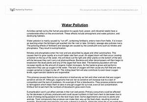 Water Pollution A Level Science Marked By Teacherscom