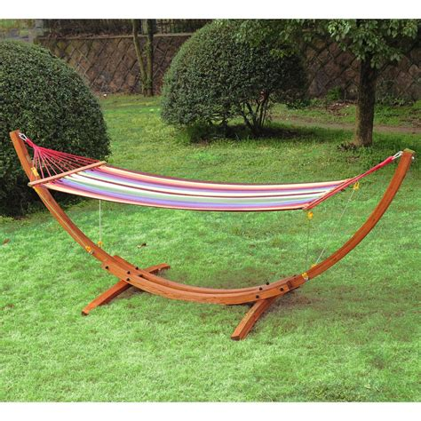 Hammock And Frame by Outsunny Wooden Frame Hammock Arc Stand On Onbuy
