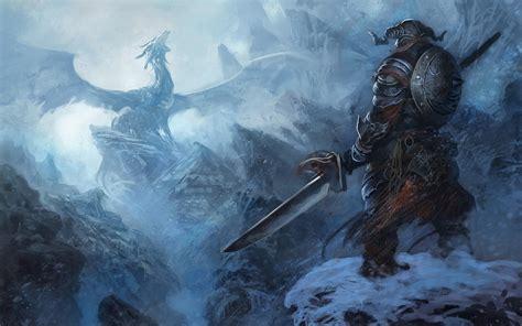 Artwork Dragonborn Dragons Fantasy Art Ice Mountain The