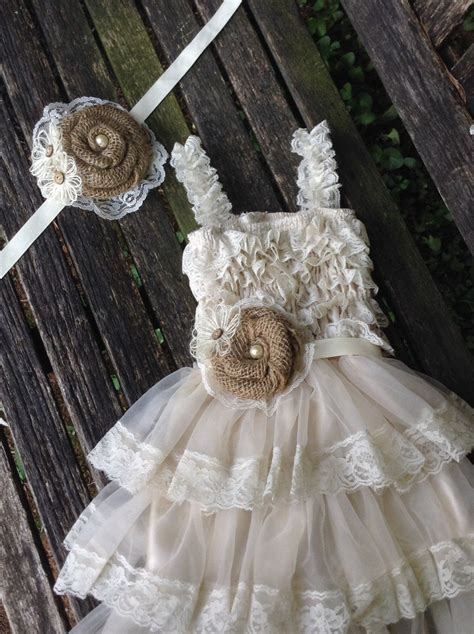 Rustic Flower Girl Dress Burlap And Lace Shabby Chic