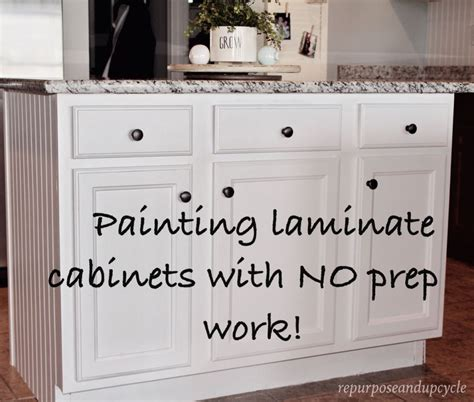 Cheap Kitchen Makeover Ideas Before And After - painting laminate cabinets with no prep work repurpose and upcycle kitchen pinterest