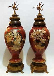 Antique, Chinese, Enamel, Vases, Pair