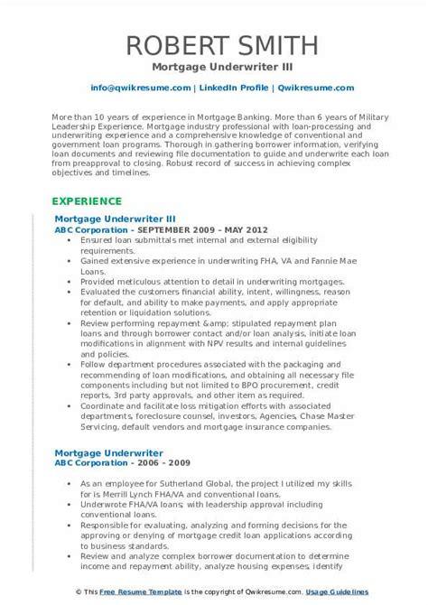 mortgage underwriter resume samples qwikresume