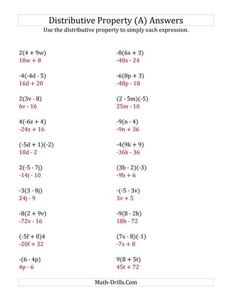 Using The Distributive Property (answers Do Not Include Exponents) (a