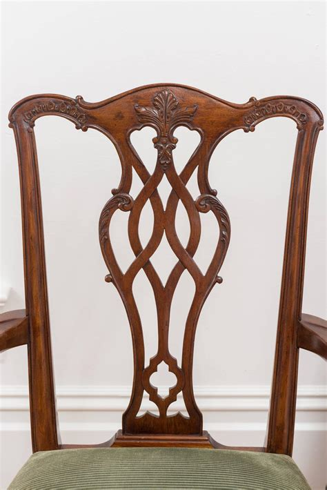reproduction 18th century chippendale mahogany chairs set