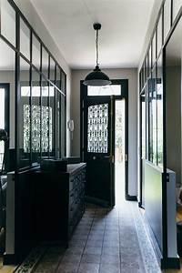 nuances de bleu style industriel frenchy fancy With porte d entrée alu avec carrelage mural salle de bain noir brillant