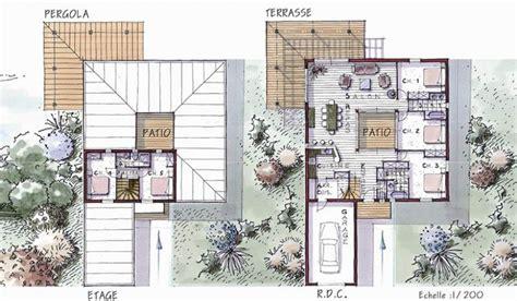 plan maison plain pied 3 chambre maison ossature bois à étage 154 m 5 chambres