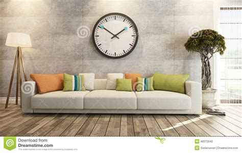 living room  big   concrete wall  rendering