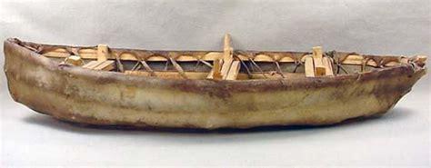 Umiak Boat by Vintage Umiak Eskimo Boat Signed Seal Skin And