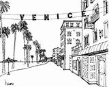 Venice Beach California Line Sketch Boardwalk Sketches Surf Illustration Travel sketch template